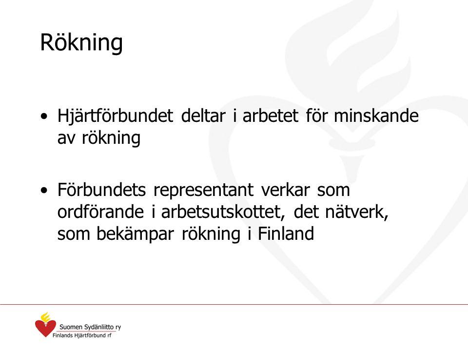 Rökning Hjärtförbundet deltar i arbetet för minskande av rökning