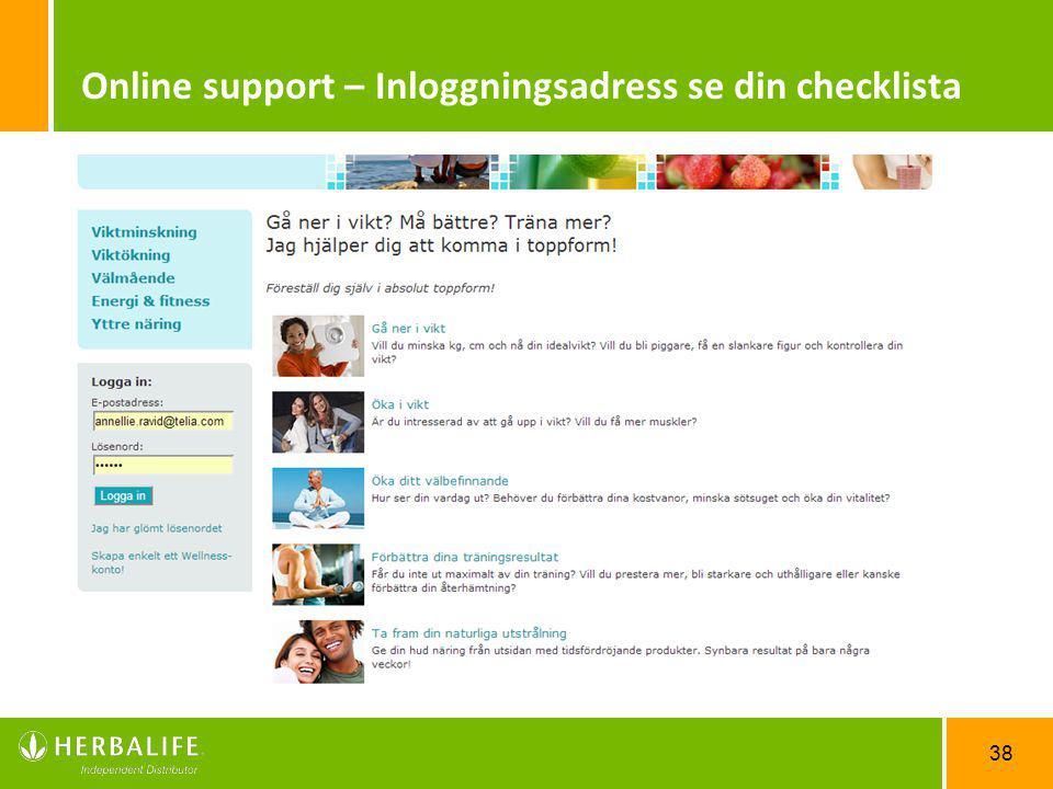 Online support – Inloggningsadress se din checklista