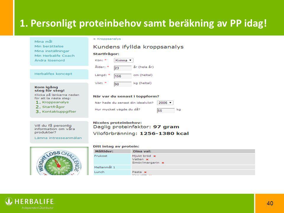 1. Personligt proteinbehov samt beräkning av PP idag!