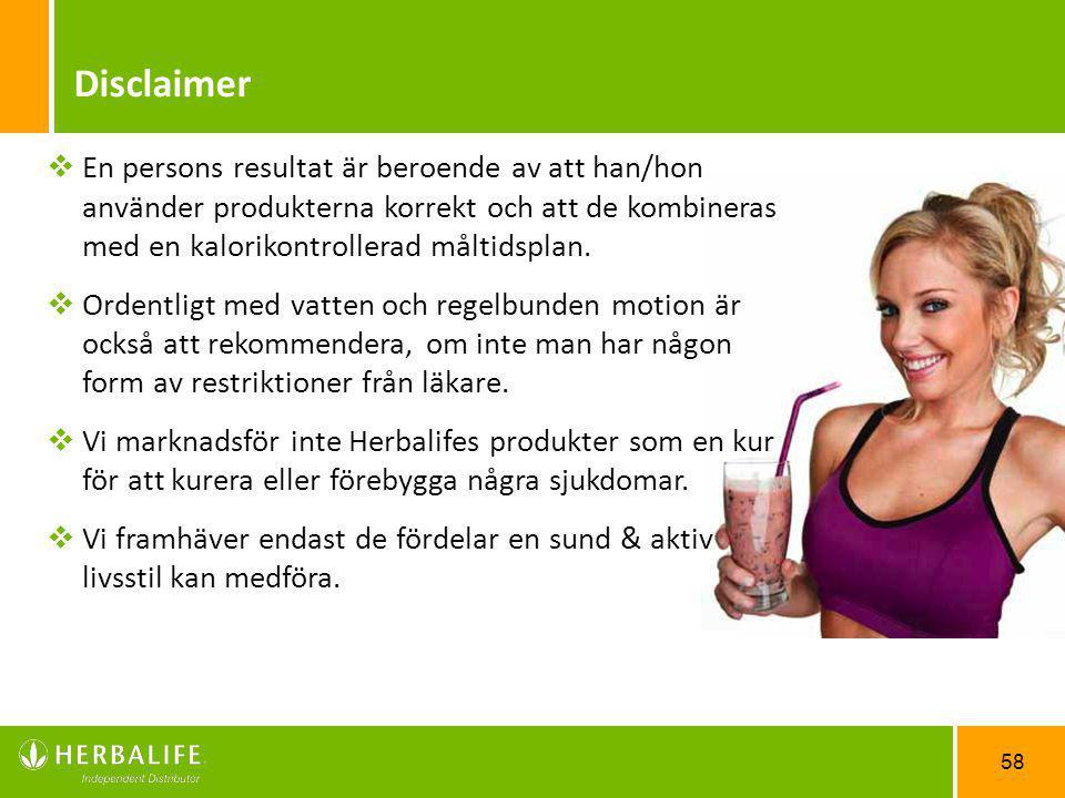 Disclaimer En persons resultat är beroende av att han/hon använder produkterna korrekt och att de kombineras med en kalorikontrollerad måltidsplan.
