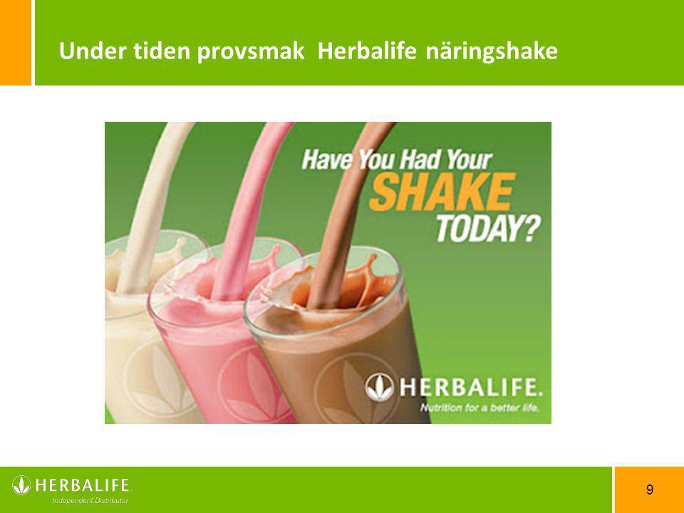 Under tiden provsmak Herbalife näringshake