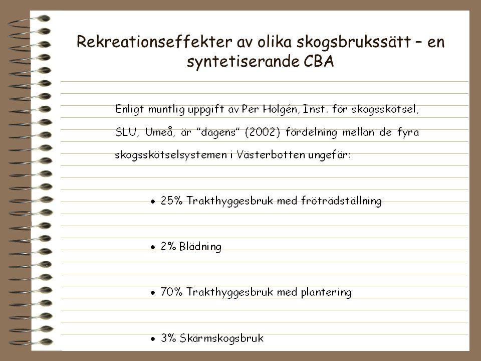 Rekreationseffekter av olika skogsbrukssätt – en syntetiserande CBA