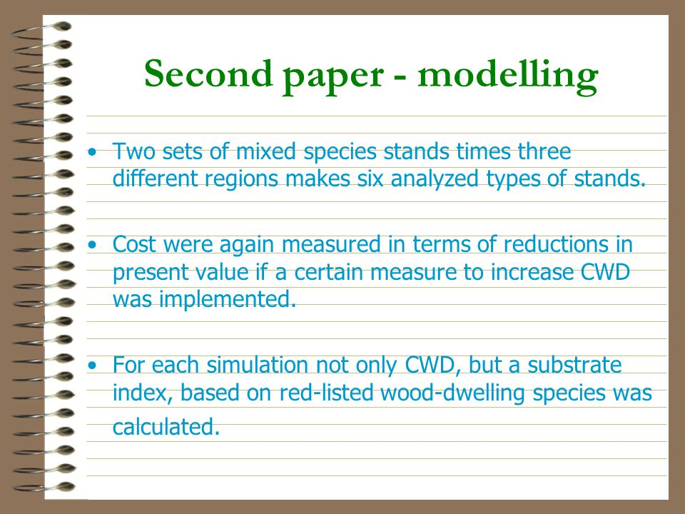 Second paper - modelling