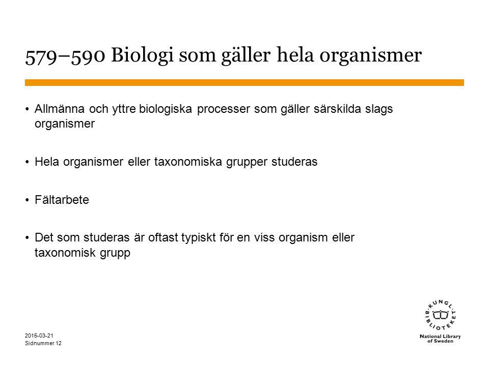 579–590 Biologi som gäller hela organismer