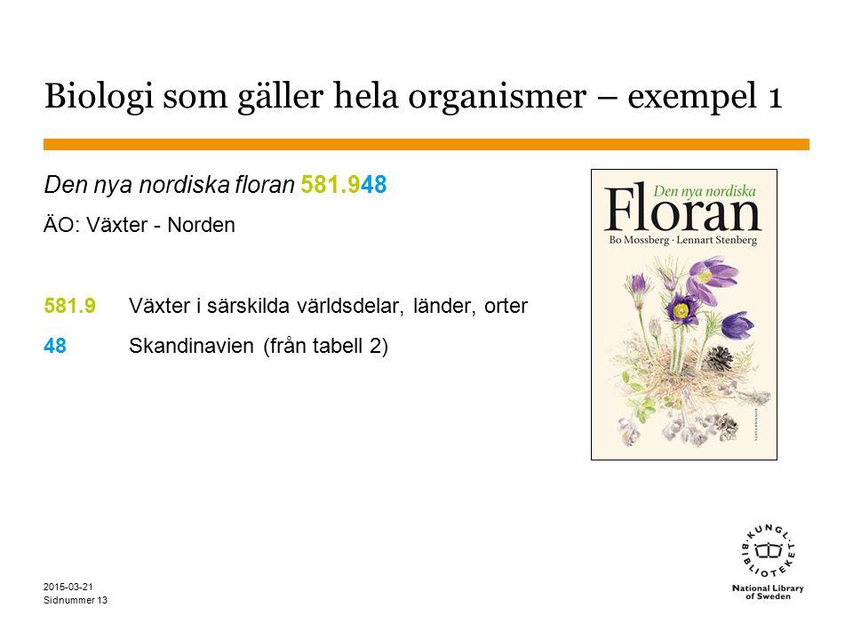 Biologi som gäller hela organismer – exempel 1