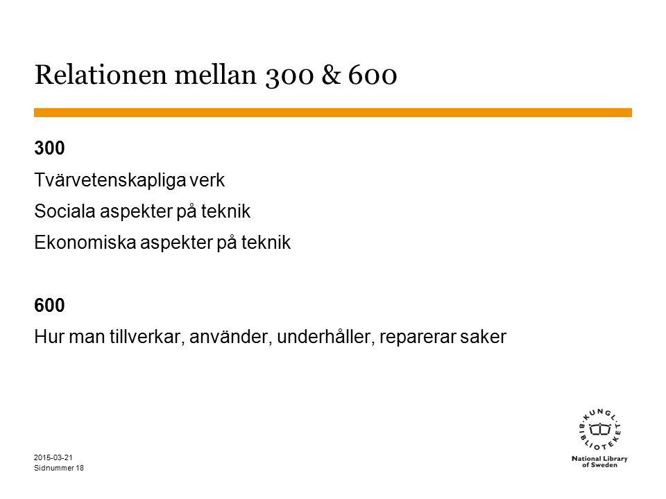 Relationen mellan 300 & 600 300 Tvärvetenskapliga verk