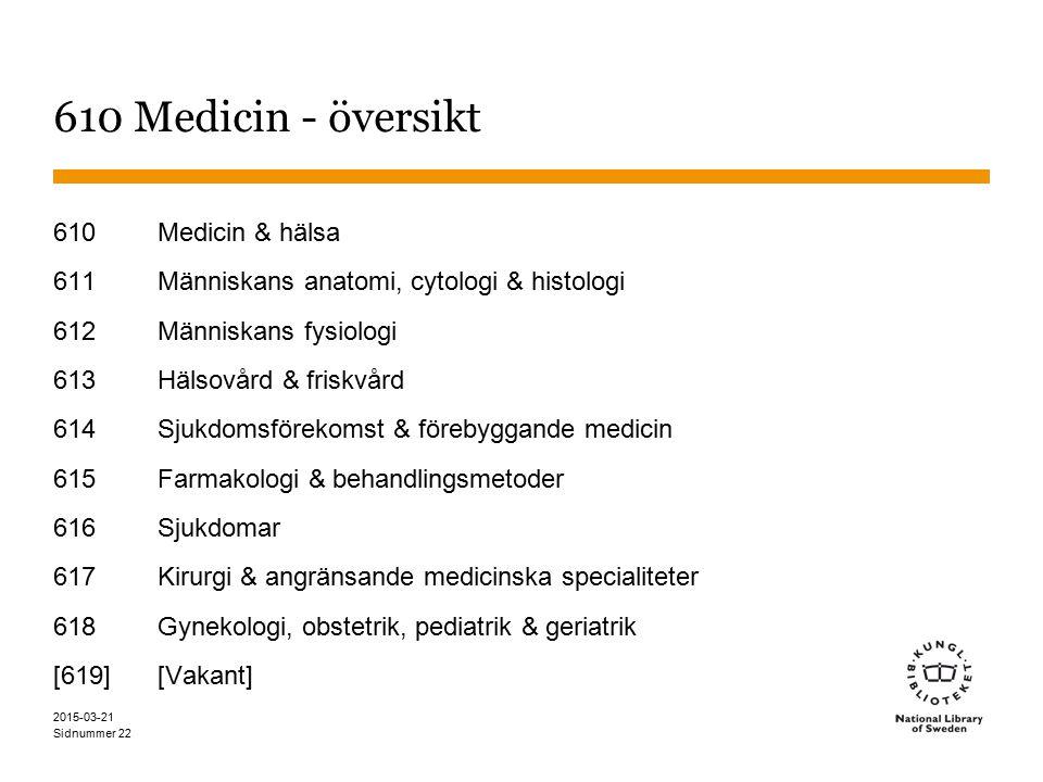 610 Medicin - översikt 610 Medicin & hälsa