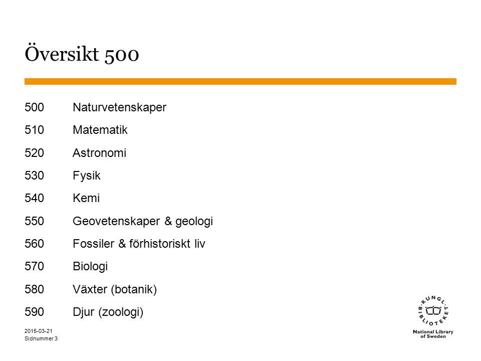 Översikt 500 500 Naturvetenskaper 510 Matematik 520 Astronomi