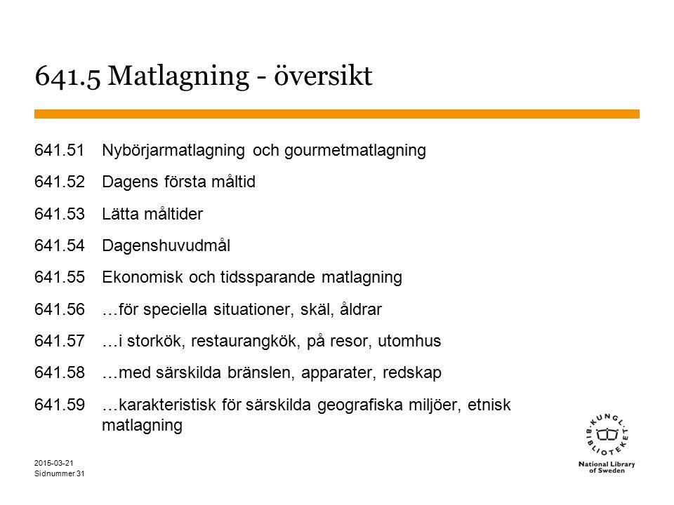 641.5 Matlagning - översikt 641.51 Nybörjarmatlagning och gourmetmatlagning. 641.52 Dagens första måltid.