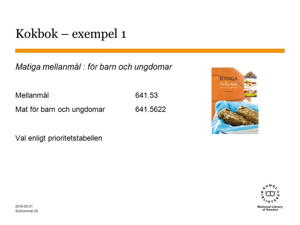 Kokbok – exempel 1 Matiga mellanmål : för barn och ungdomar