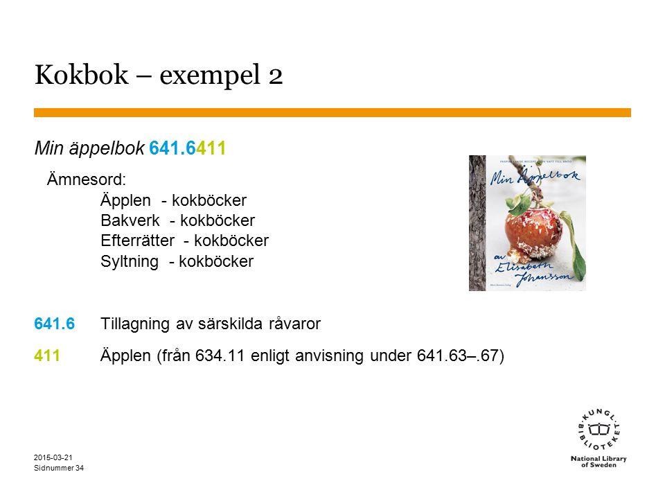 Kokbok – exempel 2 Min äppelbok 641.6411