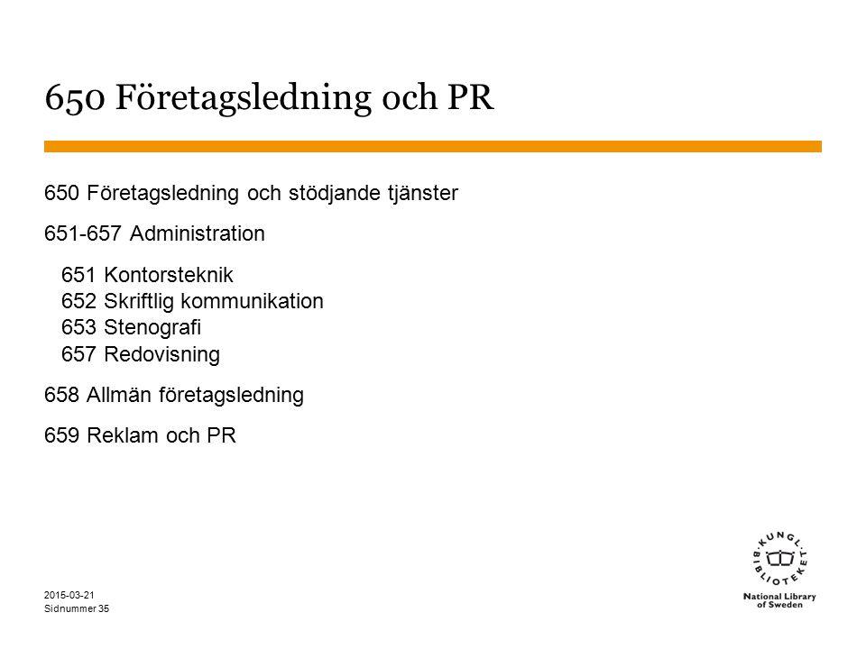 650 Företagsledning och PR