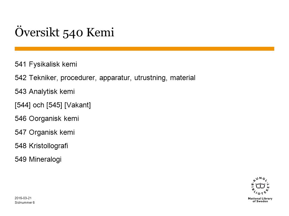 Översikt 540 Kemi 541 Fysikalisk kemi