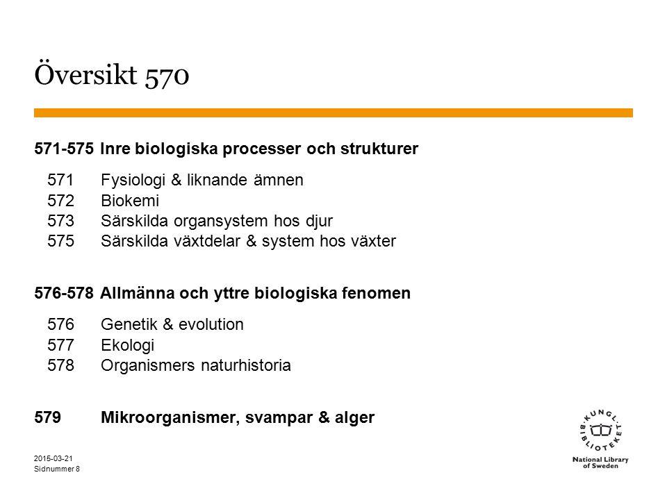Översikt 570 571-575 Inre biologiska processer och strukturer