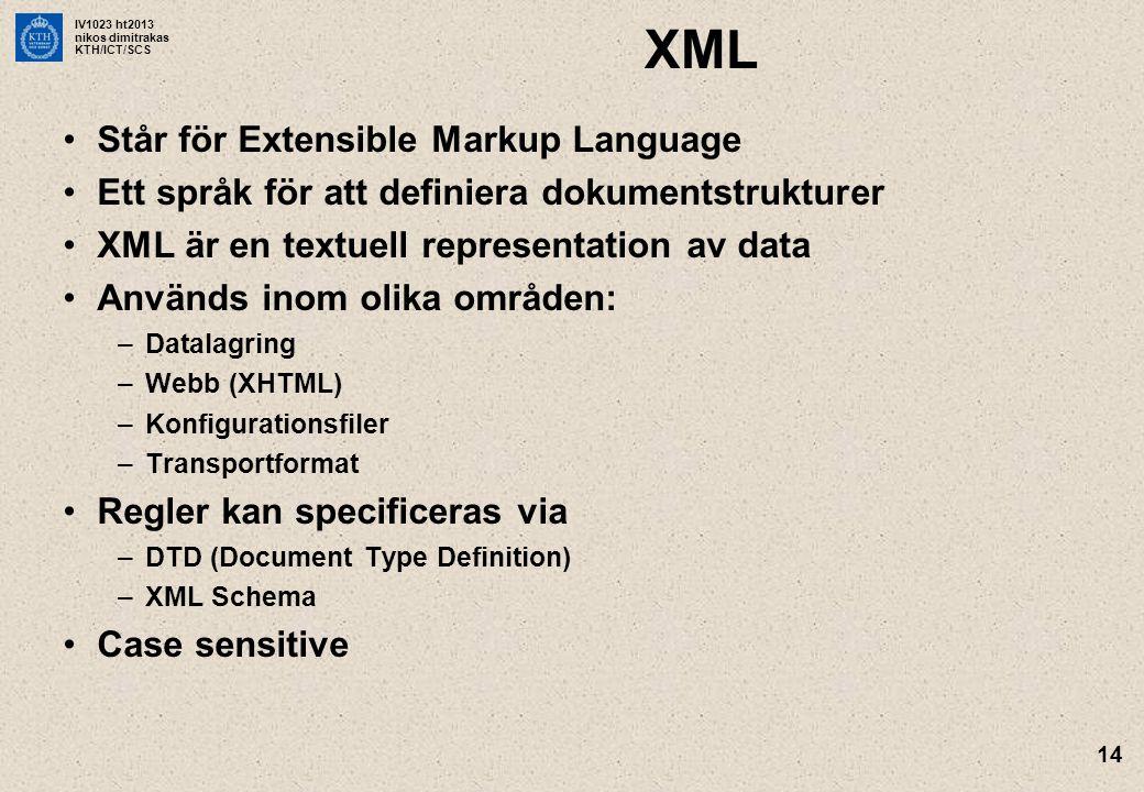XML Står för Extensible Markup Language