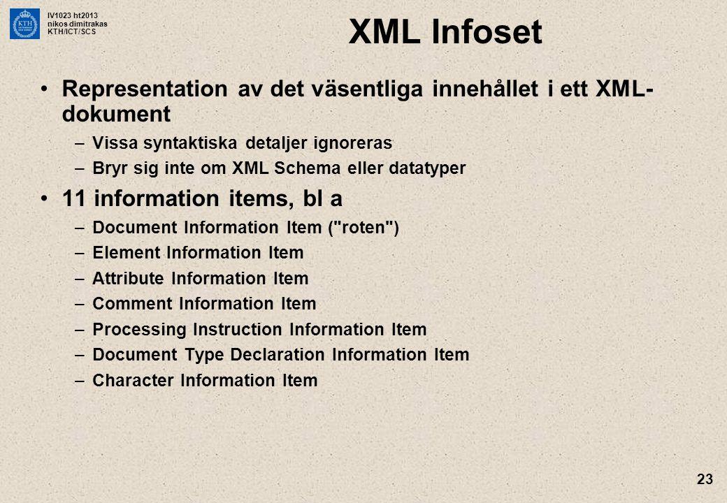 XML Infoset Representation av det väsentliga innehållet i ett XML-dokument. Vissa syntaktiska detaljer ignoreras.