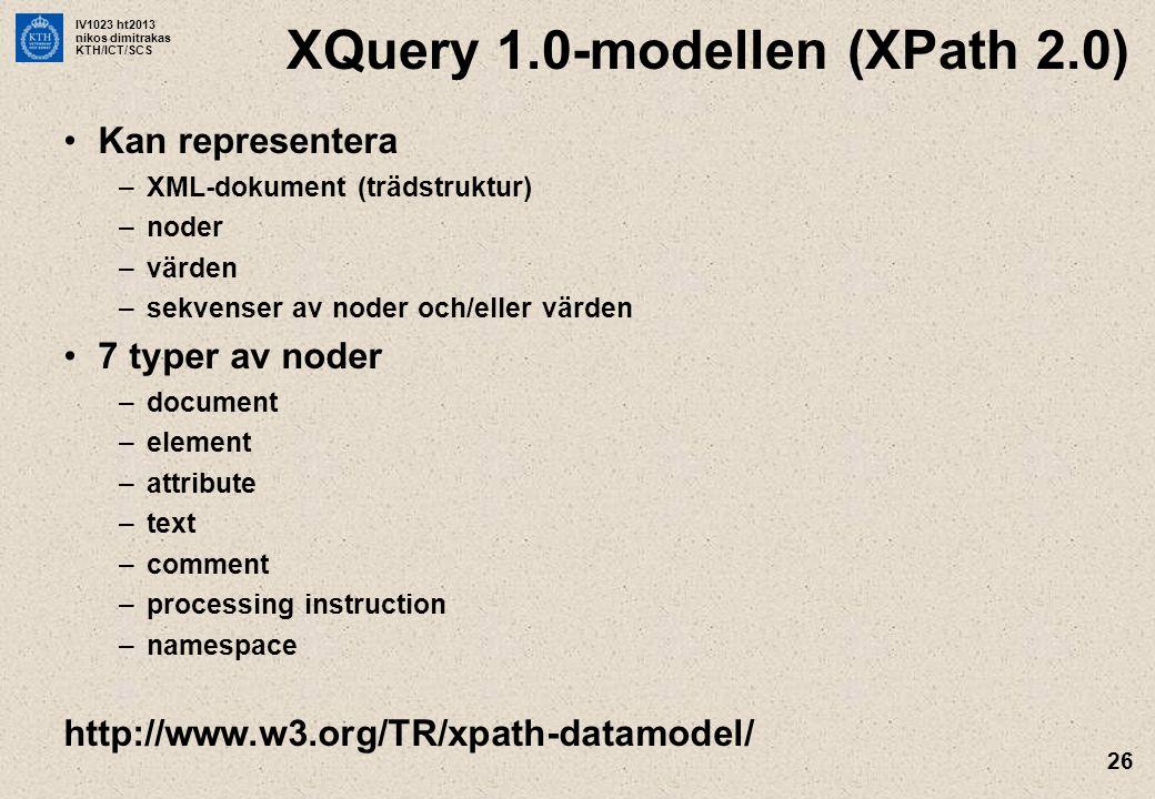 XQuery 1.0-modellen (XPath 2.0)