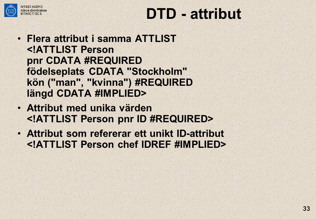 DTD - attribut