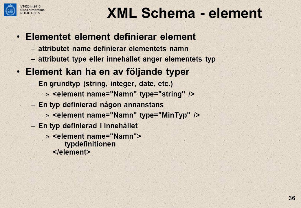 XML Schema - element Elementet element definierar element
