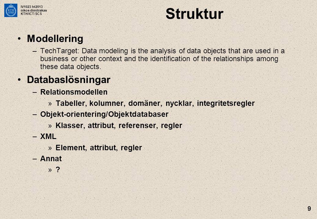 Struktur Modellering Databaslösningar Relationsmodellen