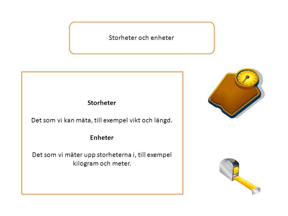 Det som vi kan mäta, till exempel vikt och längd. Enheter