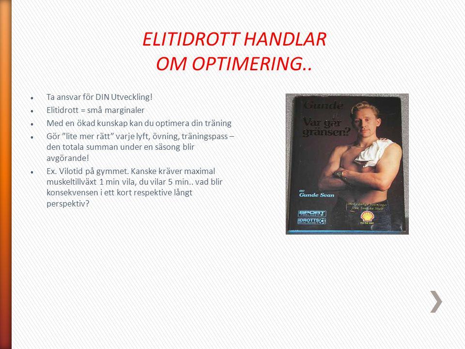 ELITIDROTT HANDLAR OM OPTIMERING..