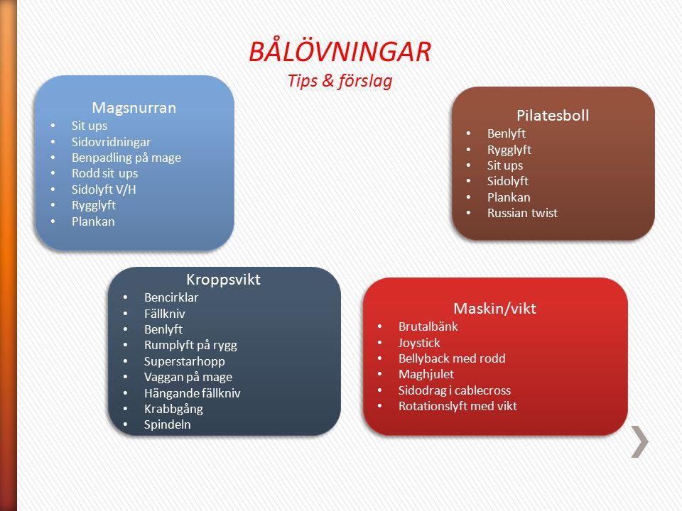 BÅLÖVNINGAR Tips & förslag Magsnurran Pilatesboll Kroppsvikt