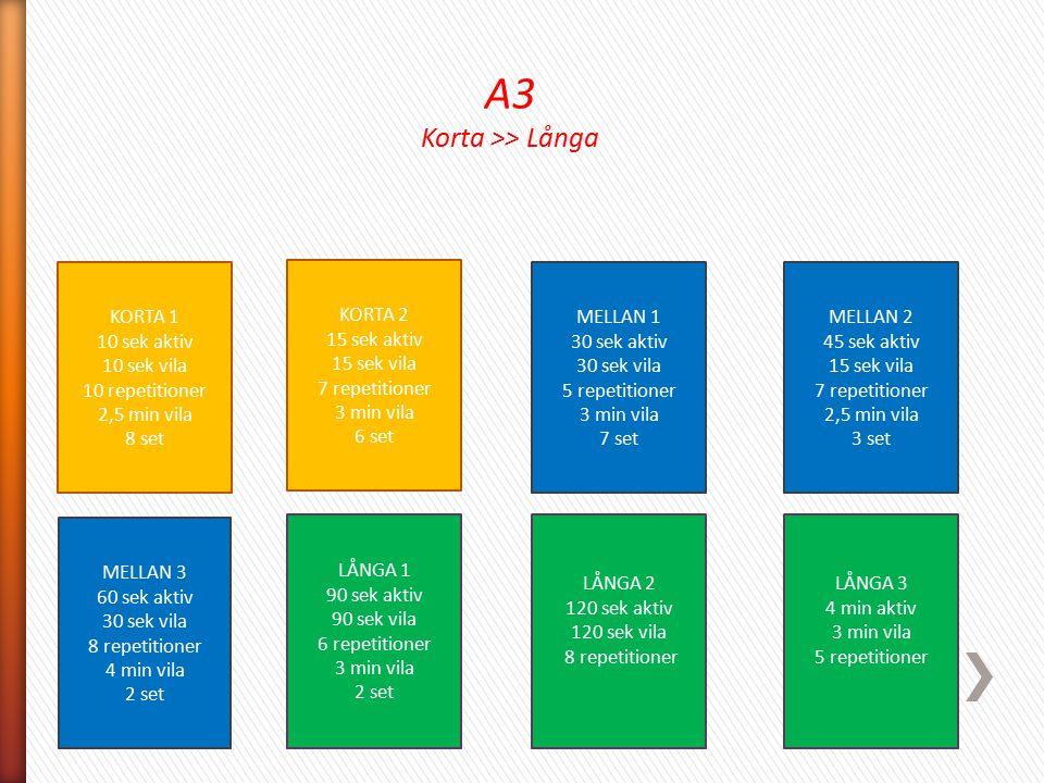 A3 Korta >> Långa KORTA 1 10 sek aktiv 10 sek vila