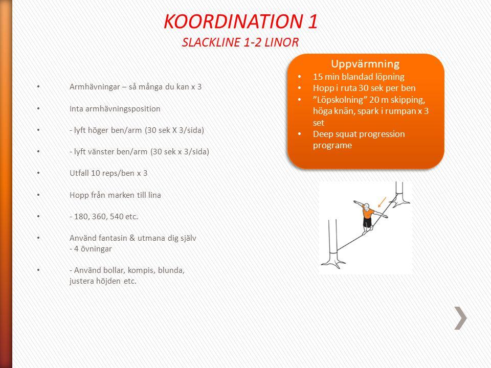 KOORDINATION 1 SLACKLINE 1-2 LINOR Uppvärmning 15 min blandad löpning