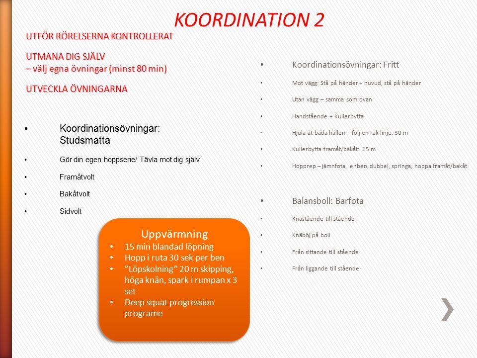 KOORDINATION 2 Uppvärmning UTFÖR RÖRELSERNA KONTROLLERAT