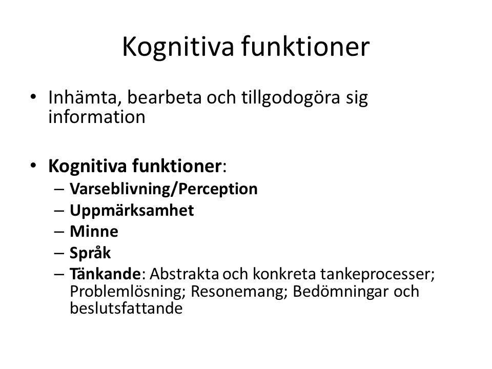 Kognitiva funktioner Inhämta, bearbeta och tillgodogöra sig information. Kognitiva funktioner: Varseblivning/Perception.