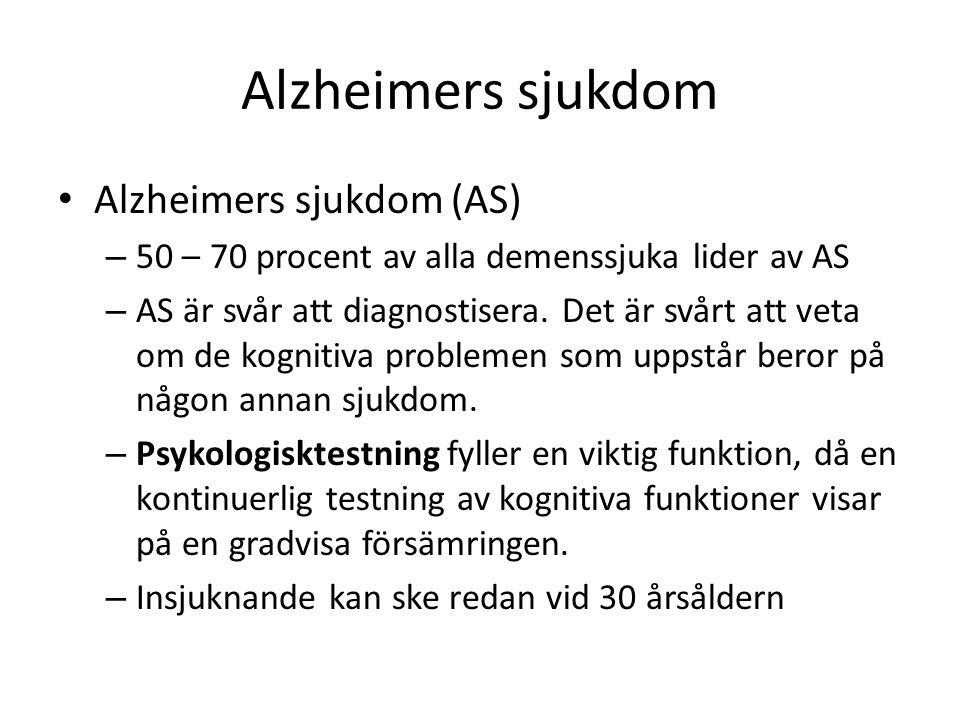 Alzheimers sjukdom Alzheimers sjukdom (AS)
