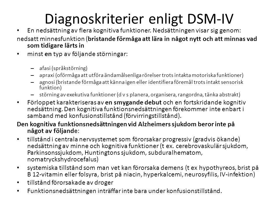 Diagnoskriterier enligt DSM-IV