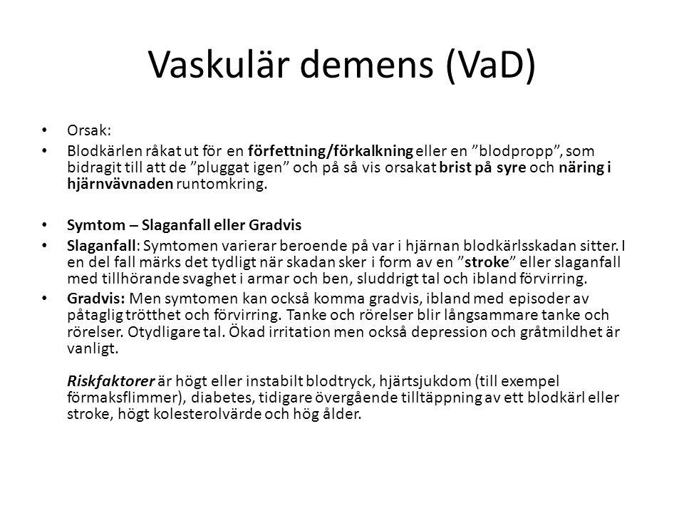Vaskulär demens (VaD) Orsak: