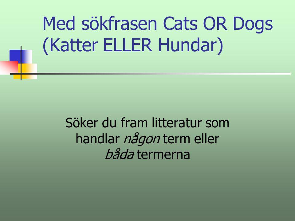 Med sökfrasen Cats OR Dogs (Katter ELLER Hundar)