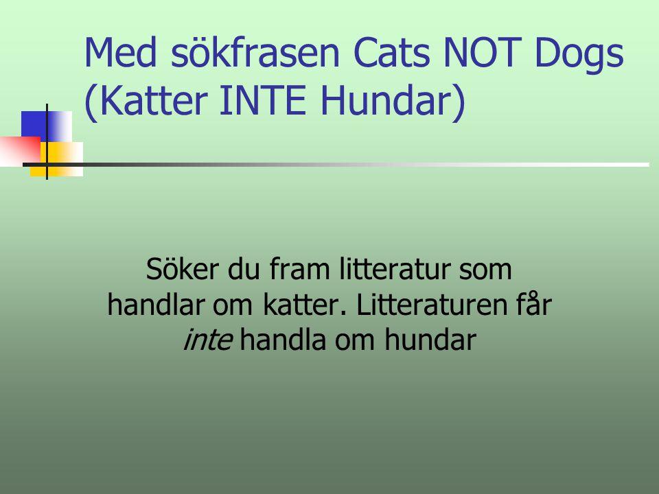 Med sökfrasen Cats NOT Dogs (Katter INTE Hundar)