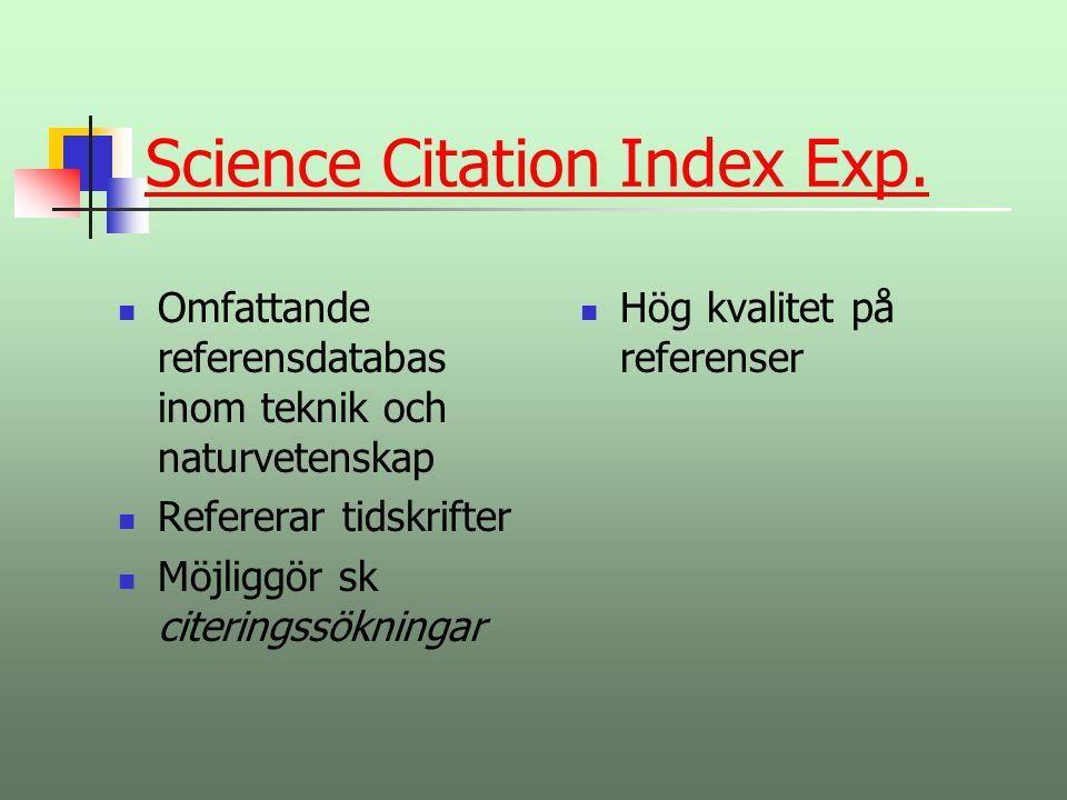 Science Citation Index Exp.