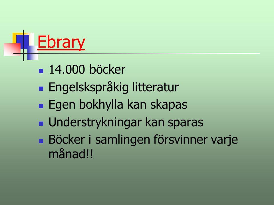 Ebrary 14.000 böcker Engelskspråkig litteratur
