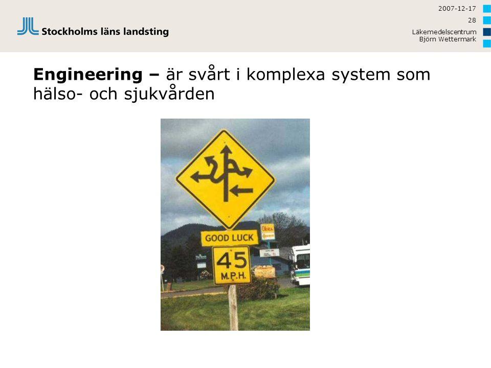 Engineering – är svårt i komplexa system som hälso- och sjukvården