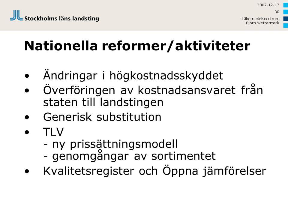 Nationella reformer/aktiviteter