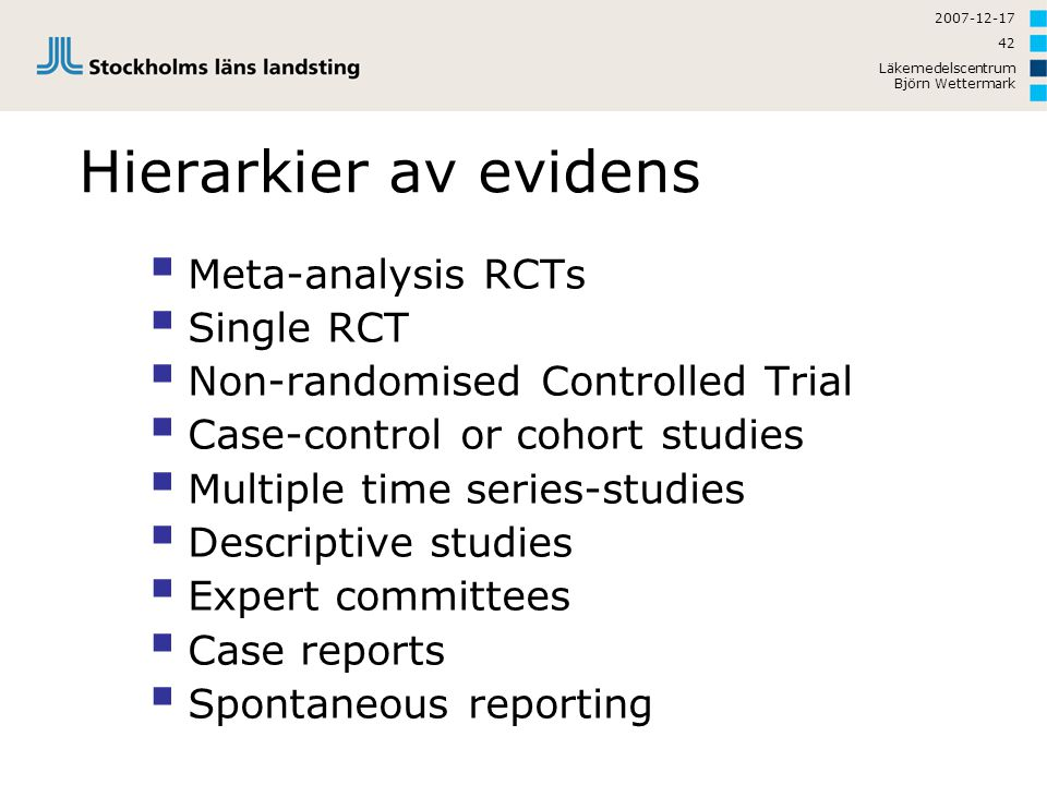 Hierarkier av evidens Meta-analysis RCTs Single RCT