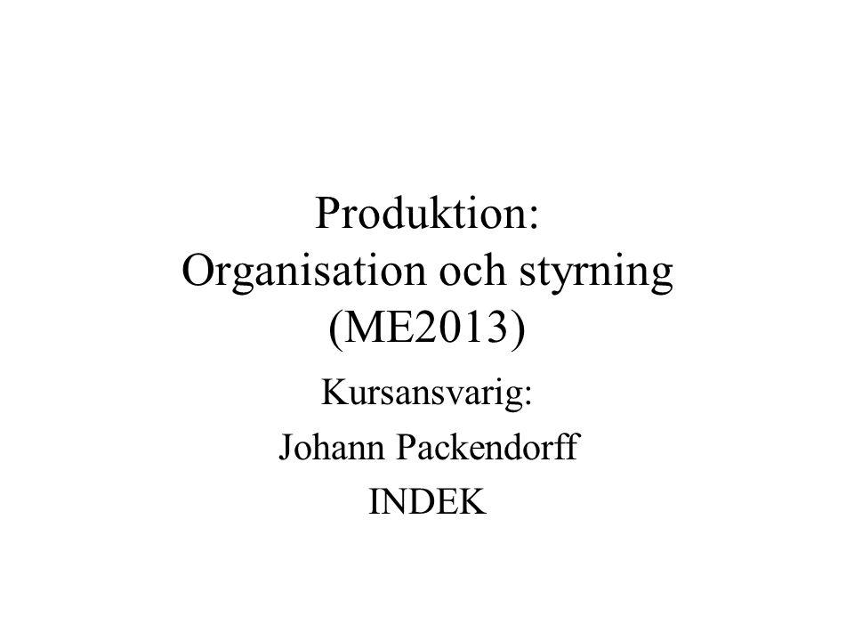 Produktion: Organisation och styrning (ME2013)