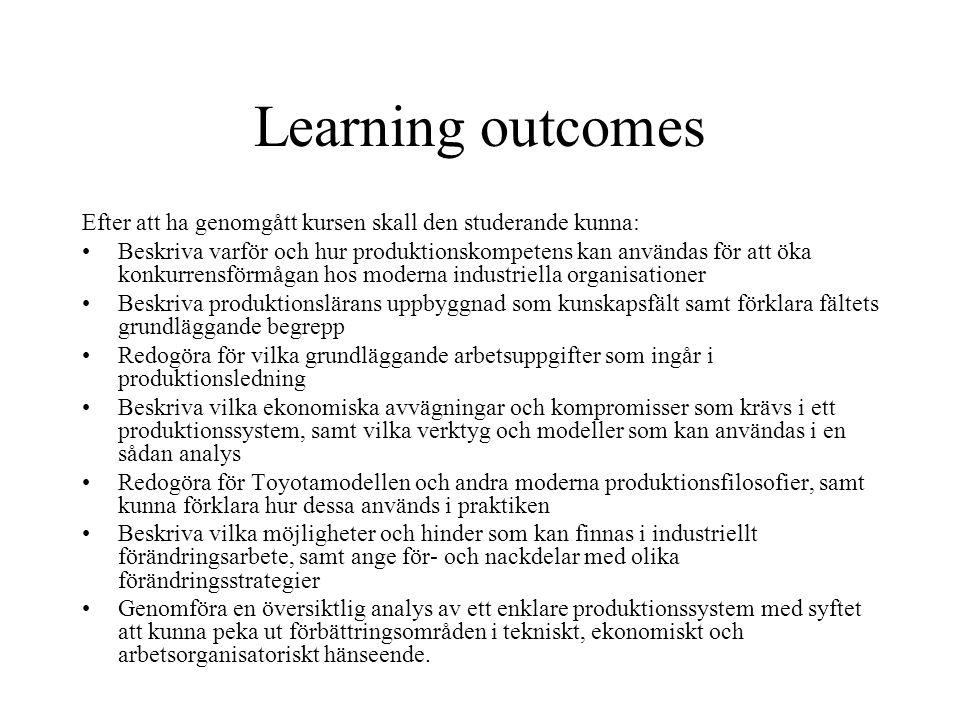 Learning outcomes Efter att ha genomgått kursen skall den studerande kunna: