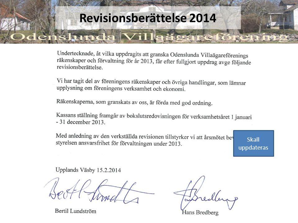 Revisionsberättelse 2014 Skall uppdateras