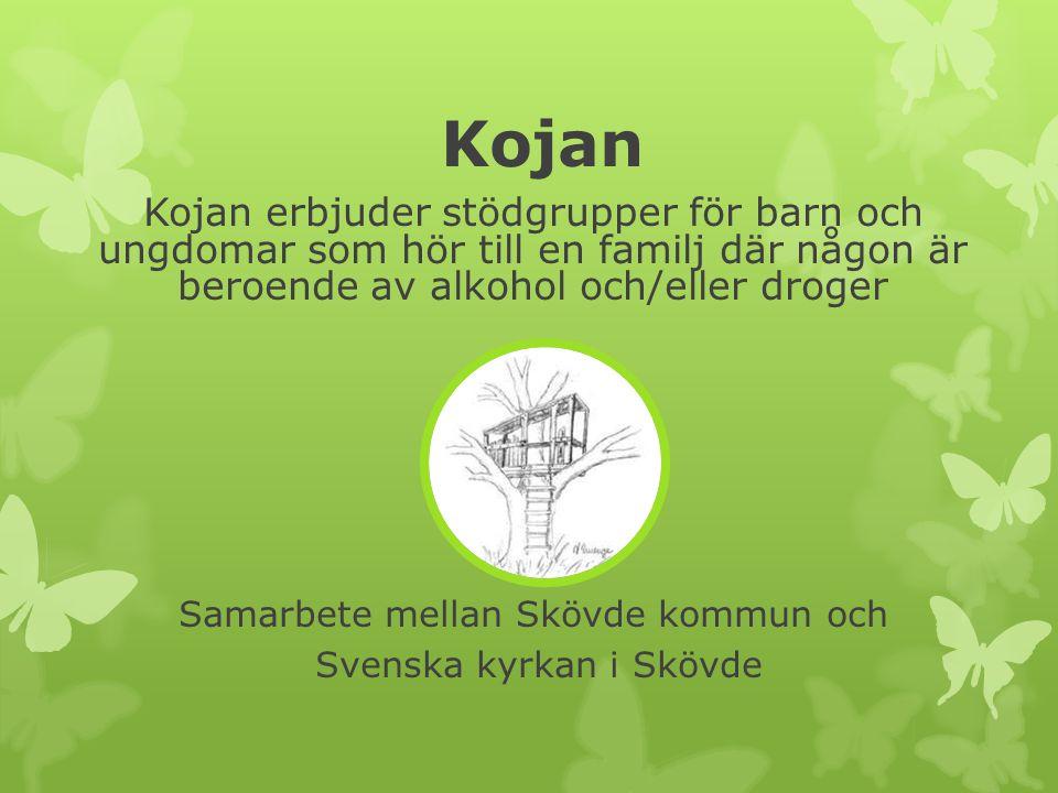 Kojan Kojan erbjuder stödgrupper för barn och ungdomar som hör till en familj där någon är beroende av alkohol och/eller droger.
