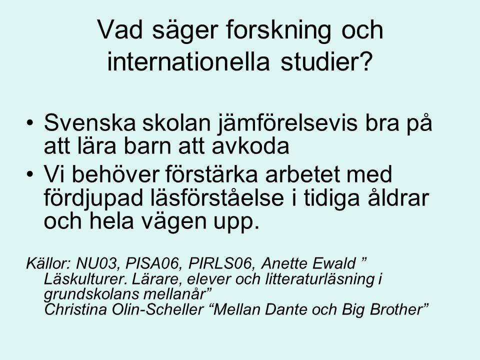 Vad säger forskning och internationella studier
