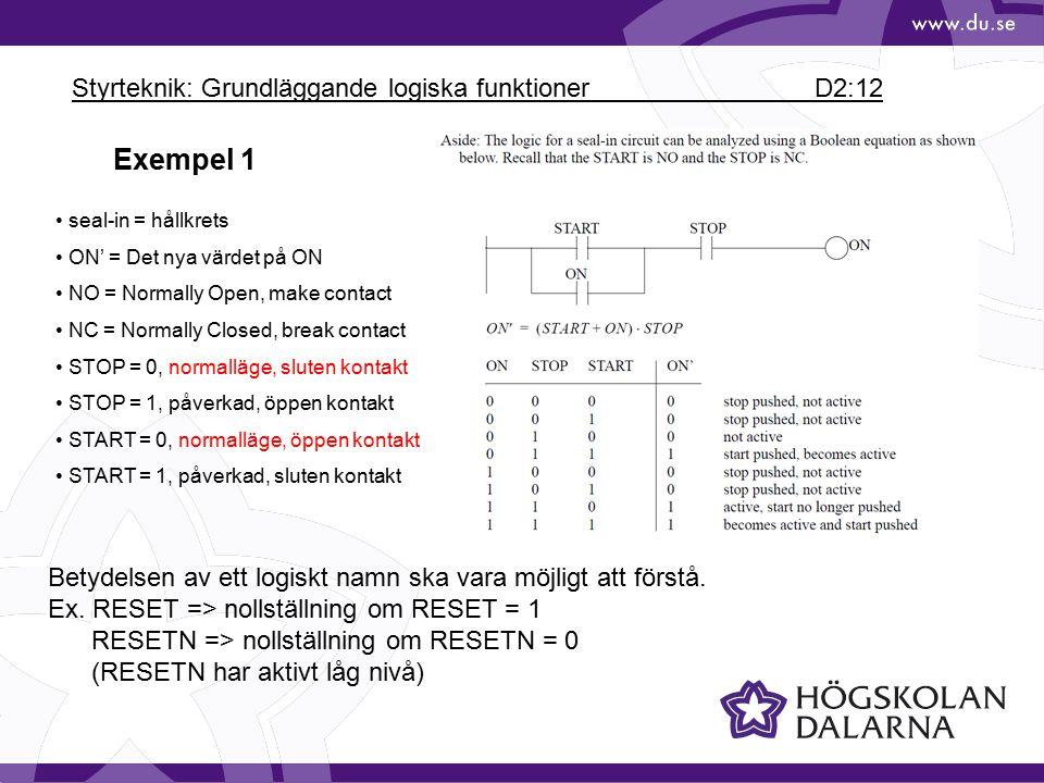 Styrteknik: Grundläggande logiska funktioner D2:12