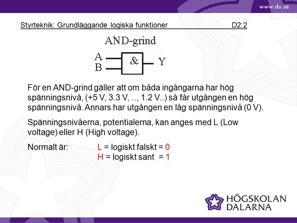 Styrteknik: Grundläggande logiska funktioner D2:2