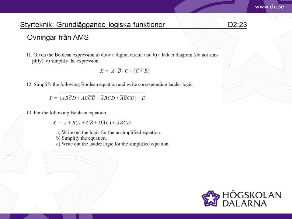 Styrteknik: Grundläggande logiska funktioner D2:23