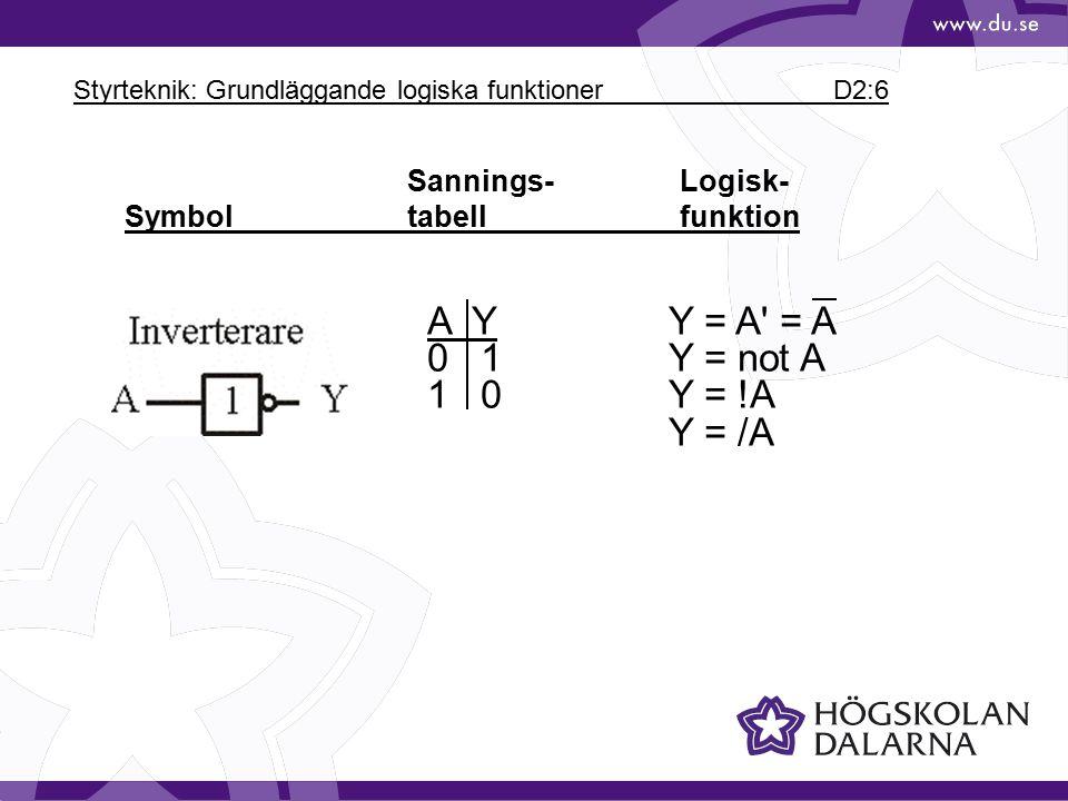Styrteknik: Grundläggande logiska funktioner D2:6